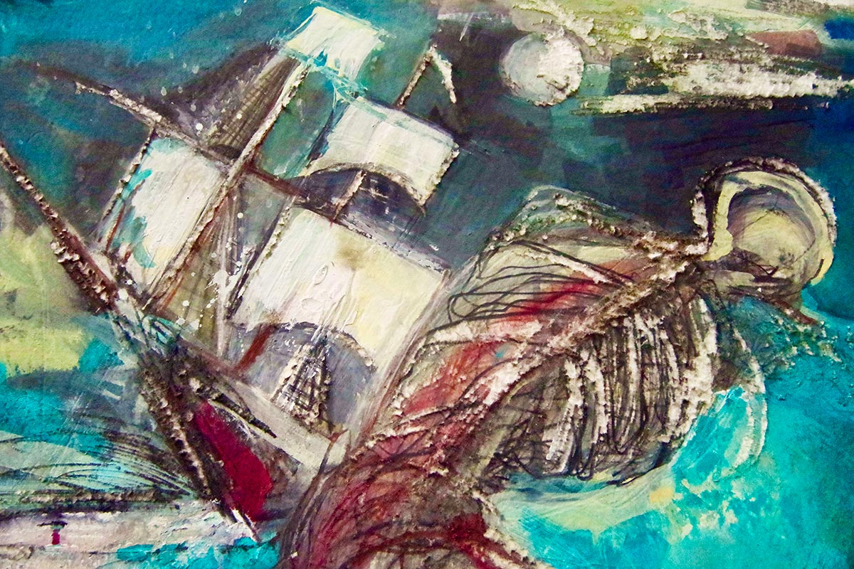 Close up detail of the tall ship sinking, with its sails lit by the bright light of the moon and the central figure tumbling into the sea.