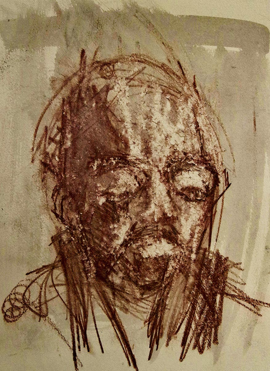 Brown sepia portrait drawing of a man with his head, his bulging eyes are almost closed, and he is in deep melancholic reflection.