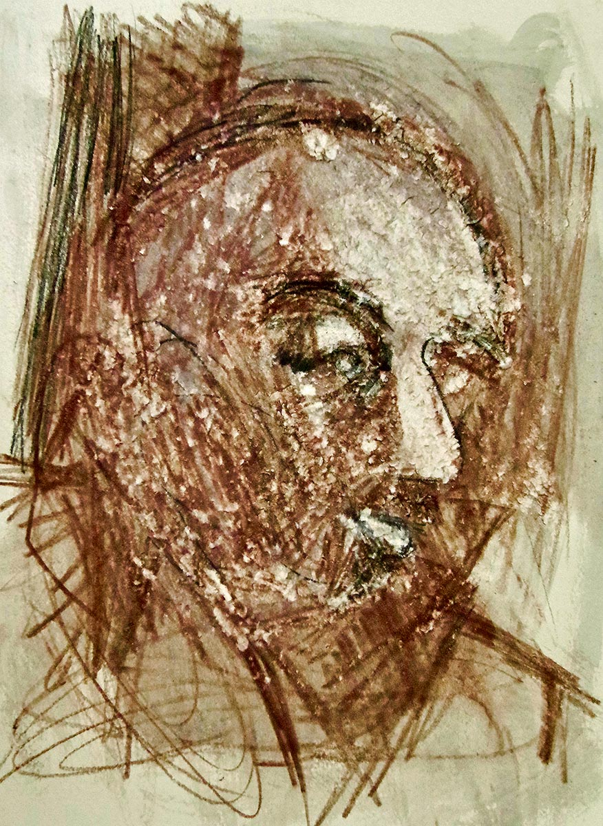 Brown sepia portrait drawing of a man, his bulging eyes are almost closed, the rough scratched surface of marks and scribbles is unsettling.