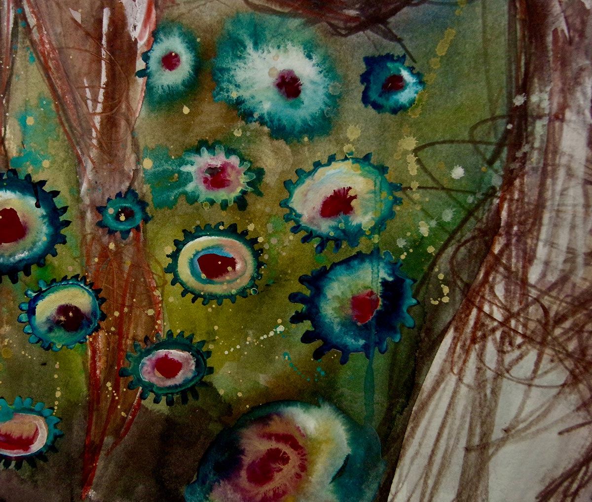 Close up detail Circular putrid jewel like coloured macrobiotic virus shapes float across the image to the right are scribbled lines that form the man's leg.