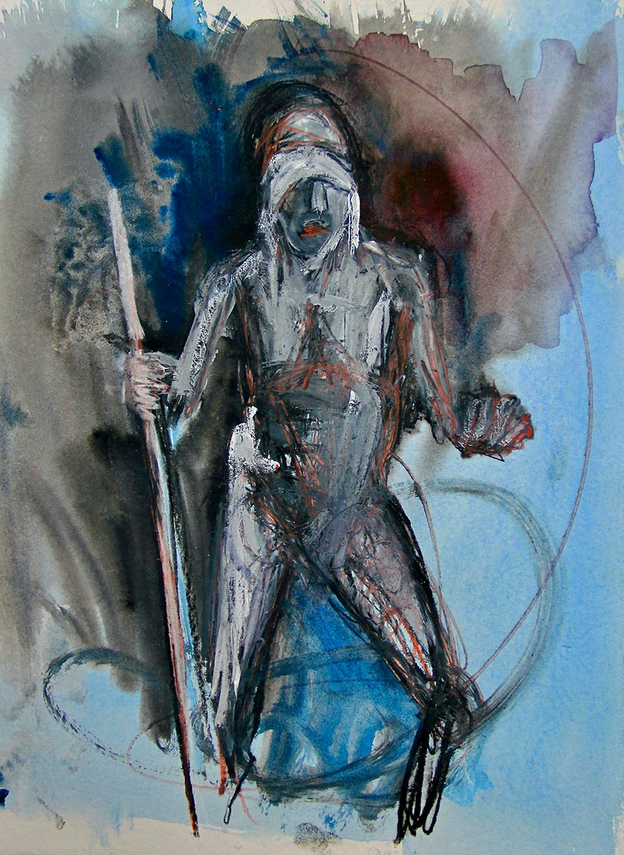 Out of the shadows of an expressionistic atmospheric ink coloured landscape, a single blind folded man figure stands clasping a staff, his deep red lips and the alizarin crimson behind the head draws attention and as sweep of circular paint begins to engulf him.
