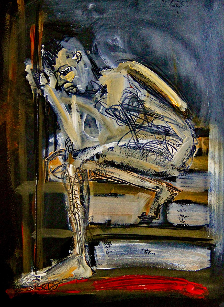 In a darkened black, ochre and red space, a despairing figure sits hunched over holding onto a handrail attached to a flight steps, for strength, head bowed down he clearly feels the pain and trauma of migration.