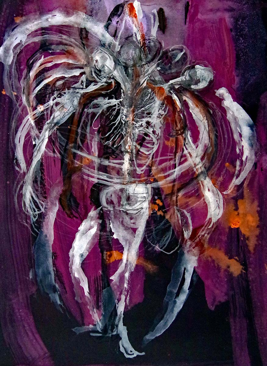 In a rich deep crimson, violet, orange black space, a delicate anatomical figure spins, wing like arms envelope the figure, and you see the ribcage structure and there is a sense of a figure sucking in air struggling to breathe.