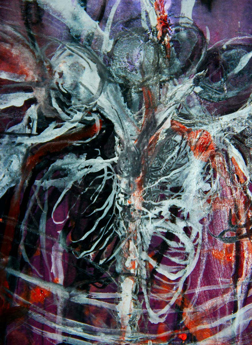 Close up details of anatomical heads and the ribcage, lungs and thoracic spine as the figure spins draw attention to the figure breathing deeply in the deep crimson, violet, orange black space.