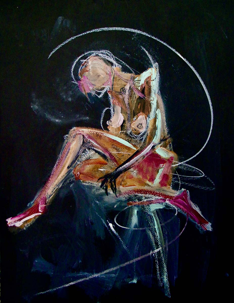 In a black space a solo melancholic figure a naked woman sits crossed legged. One hand grips her lower calf with a claw shaped hand. Head down in a melancholic repose, a dramatic chalk aura white circle encloses the figure. Rich colours of maroon, rich browns and powder blue enhance the mood of the woman.