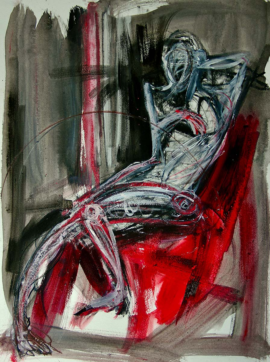 In a dark room a solitary expressionistic drawn figure relaxes seated on a red chair, one leg is extended the other bent. One hand is rests behind the head while the other is across the chest. Rapid painted marks enwrapping the figure bring drama, enhancing the shape of the anatomical form.