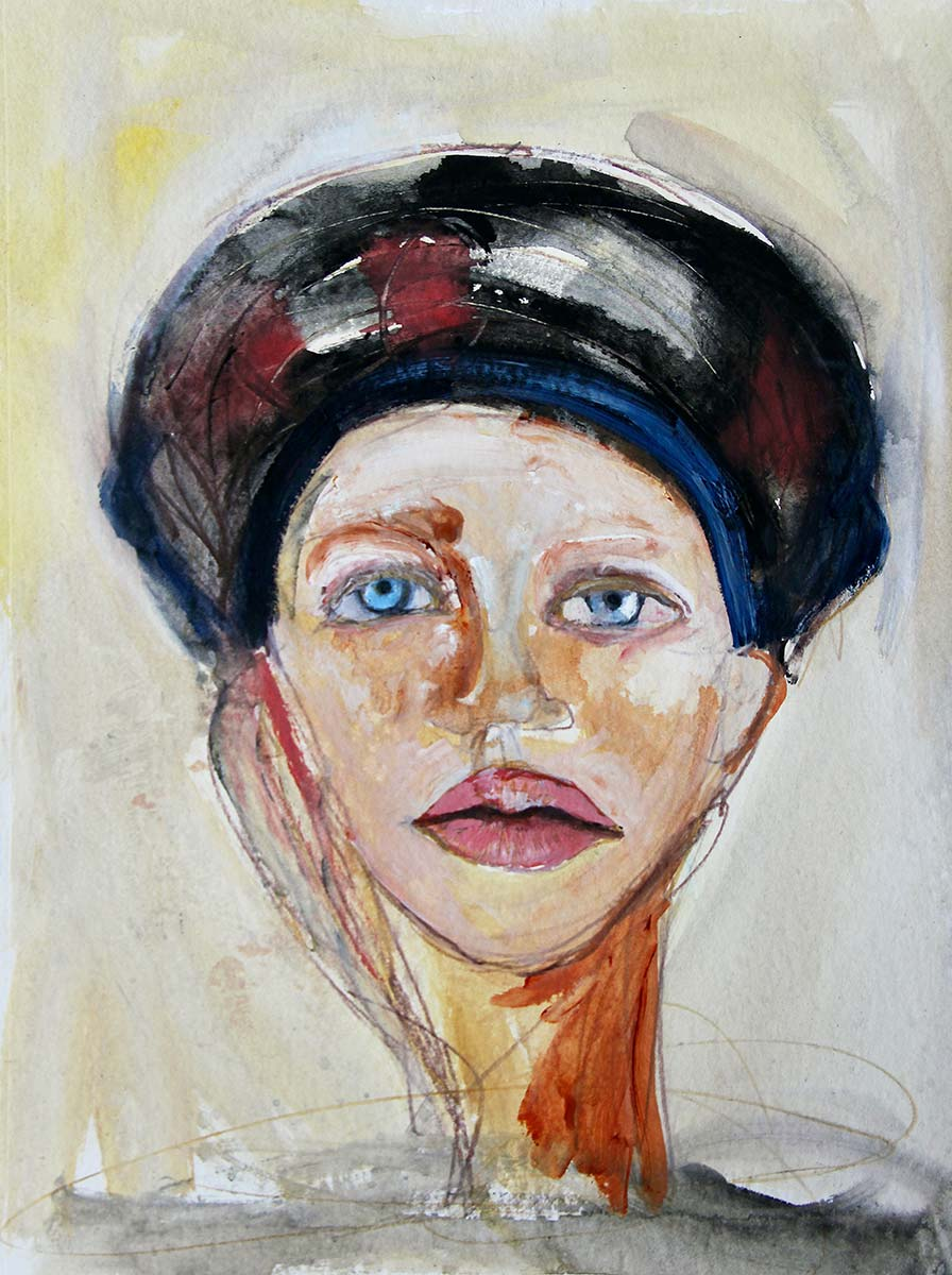 In this portrait of Angelica her hair is hidden entwined within a deep black, maroon and blue scarf. Searching crystal pale blue eyes stare out to you, her large defined lips are slightly open, while a pale-yellow glow behind enhances her beauty.