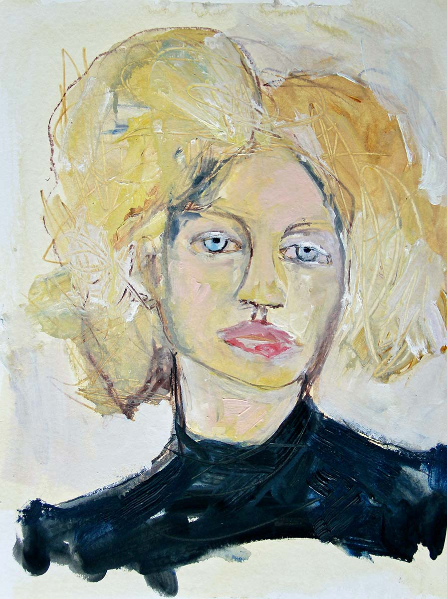 Angelica's wild yellow candy floss like hair fills the space. Melancholic in repose, she stares out through her crystal pale blue eyes, distracted by her inner thoughts. Her dense black top brings a sense of stability and control.