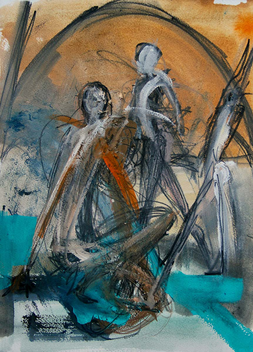 In space 3 expressionistically drawn figures occupy the space, one paces in the background, while another is sat head down in possible desolation. Turquoise blue and burnt sienna brown saturate the space with sweeps of charcoal defining the chapel like room.