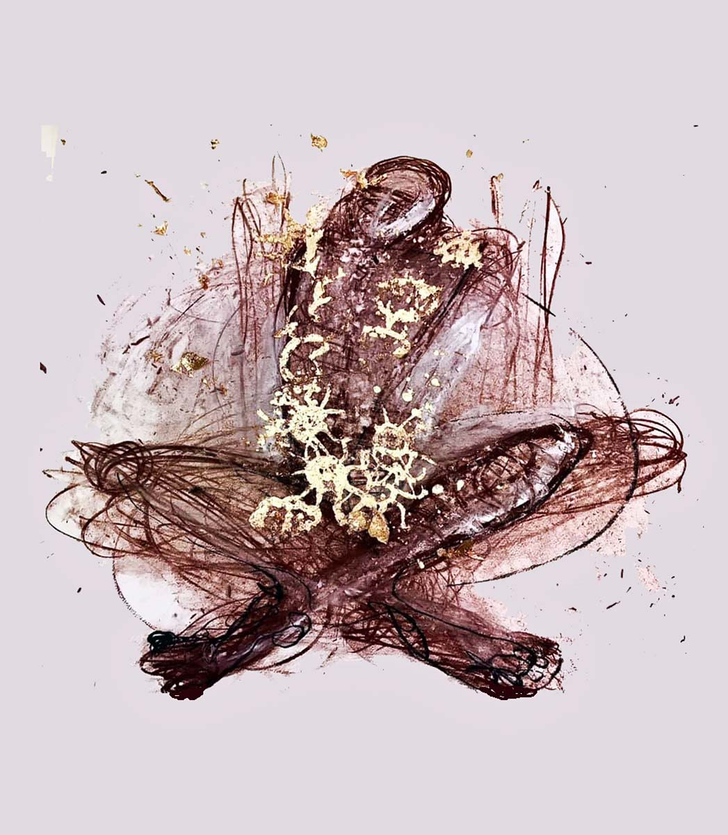 A burnt sienna figure sits armless and cross legged in a pale pink hue space. Speckles of gold dust and gold leaf shower down onto the figure, as antibody like shapes emerge in the centre.
