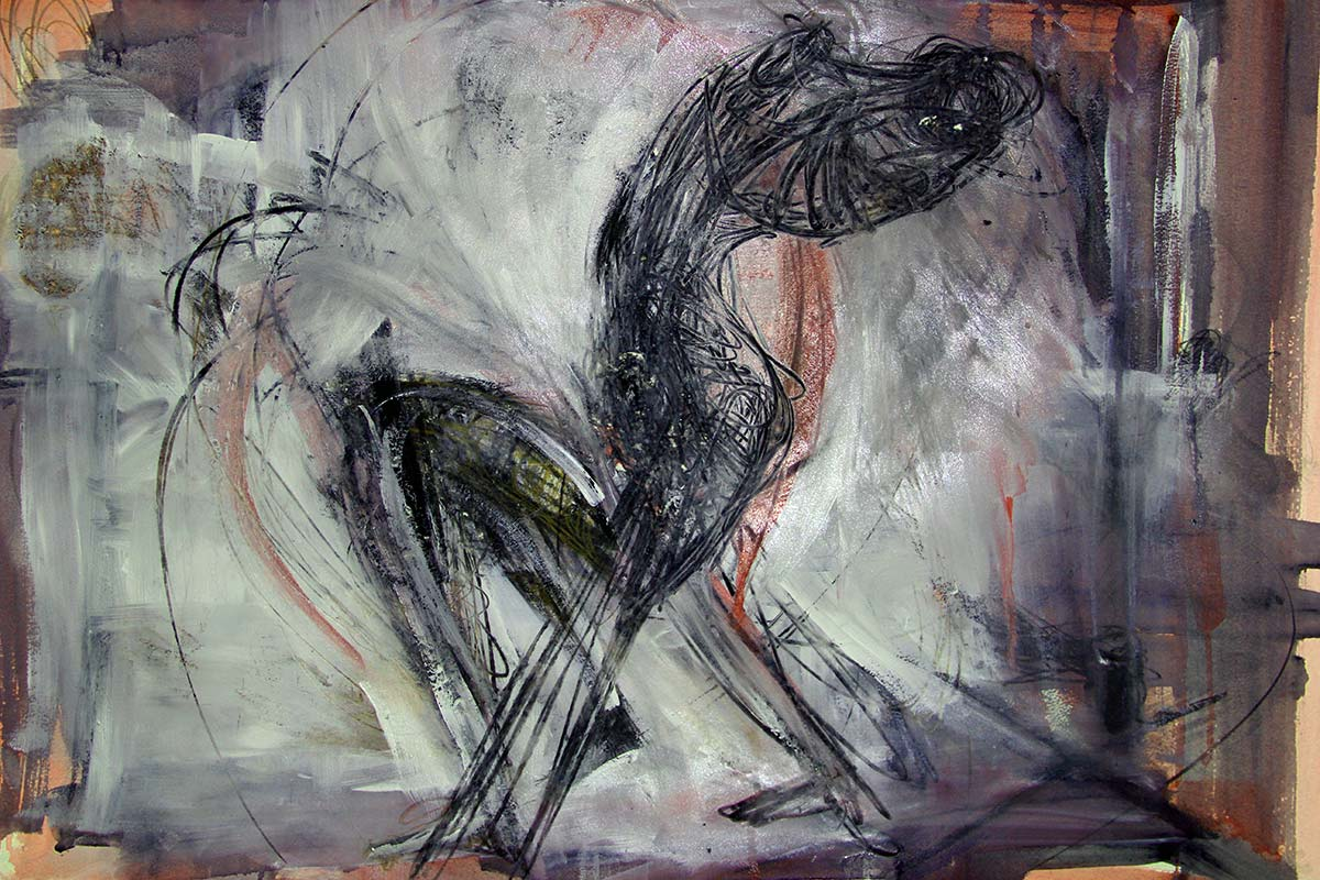 Created as a moving artwork for the Deluge performance film, a distinctive armless figure struggles and thrashes within a space defined by vertical strokes of paint and rapid expressionistic white grey brush marks.