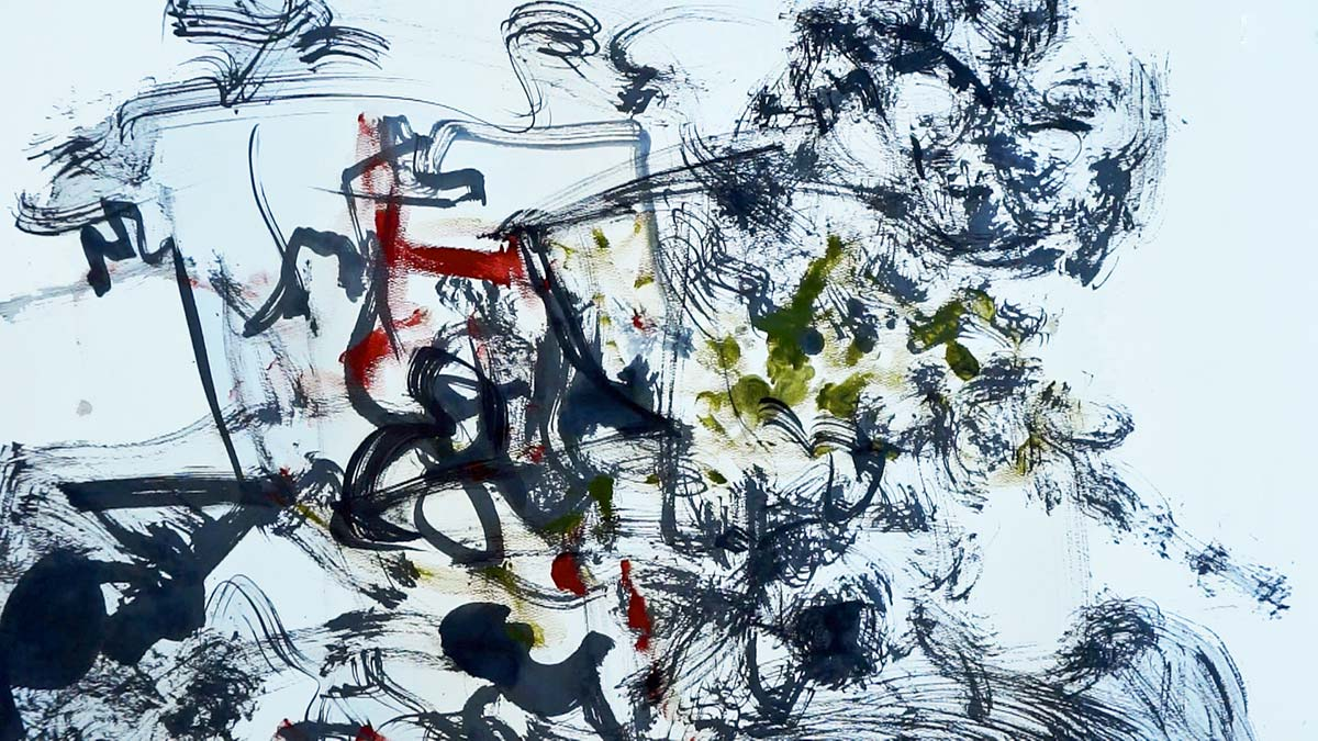 Created as a graphic score, this still from the digital film is a dynamic landscape created through calligraphic and brush like marks. Suggests of ancient Chinese landscapes fill your imagination as the subtle colours of black, grey, olive and red articulate and punctuate the dynamic space.